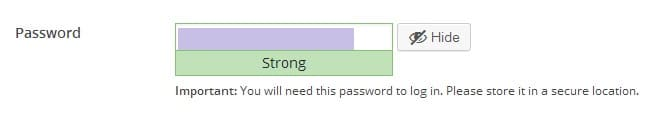 WordPress password generator screenshot