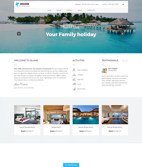 FREE – DISCOVER – Beach, Hotel & Resort Responsive Theme