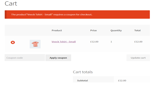 Screenshot of woocommerce checkout when trying to add a product that requires coupon