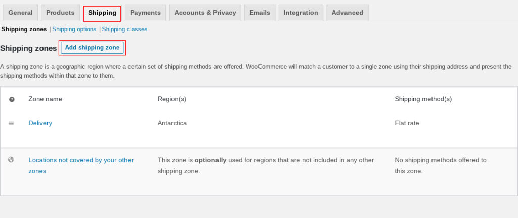 Screehshot of WooCommerce settings screen