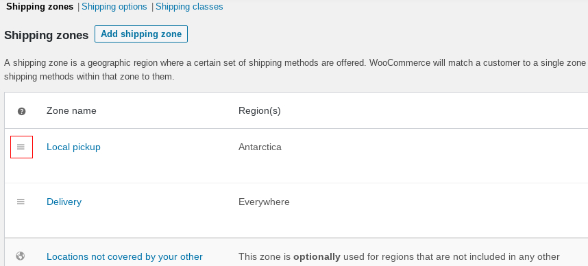 Screehshot of shipping zone settings