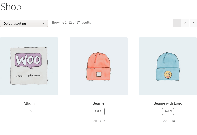 screenshot of store with add to cart button removed