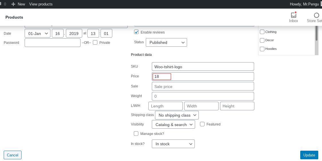 screenshot of product quick edit screen