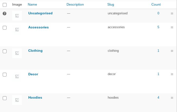screenshot of product categories