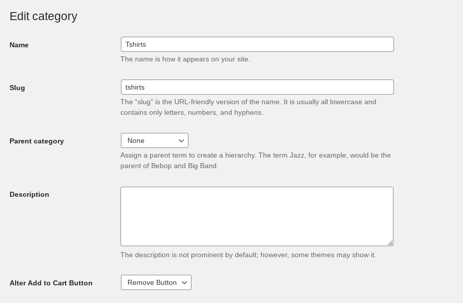 screenshot of plugin remove add to cart - categories
