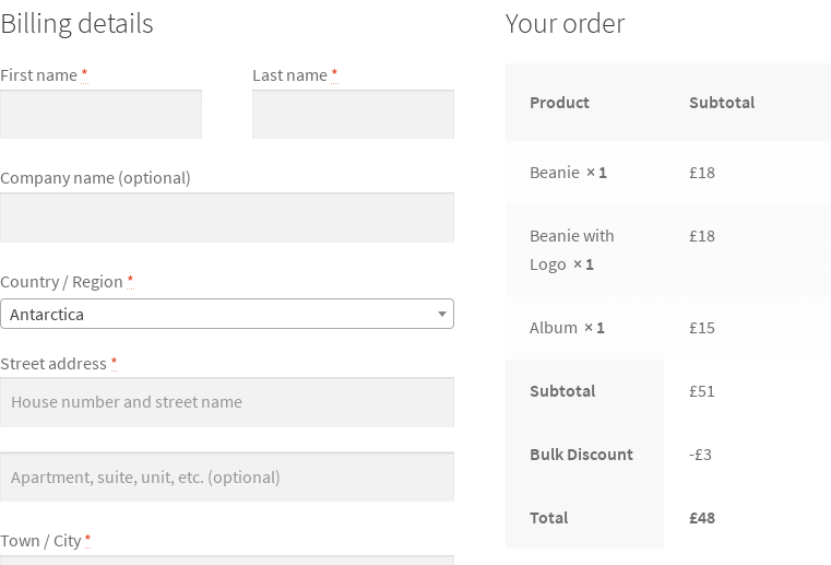 checkout of order over $50