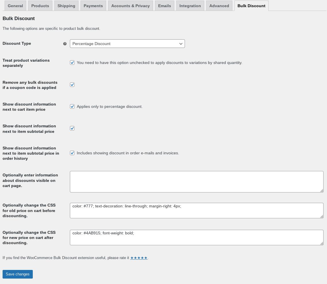 wc bulk discount plugin settings screen