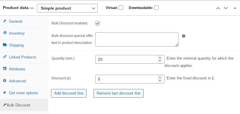 product edit screen for bulk discount
