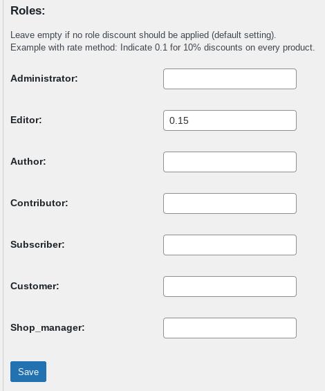Discounts per user role screen